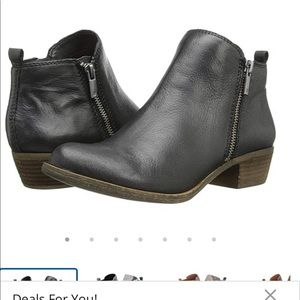 Lucky Brand Basel black leather ankle boots